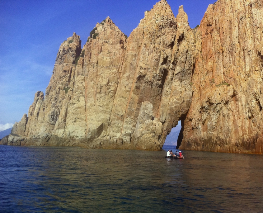 sailing in the creeks of Piana in Corsica